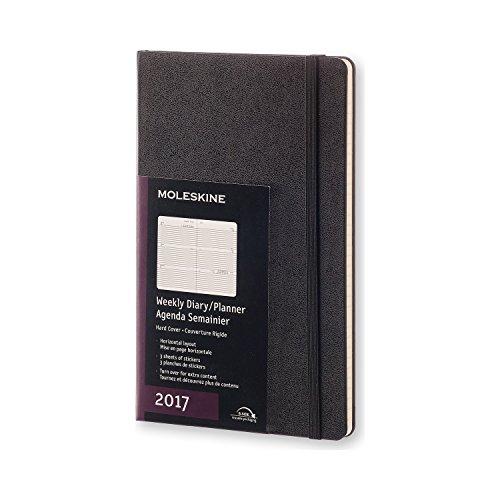 Moleskine 2017 Weekly Planner, Horizontal, 12M, Large, Black, Hard Cover (5 x 8.25)