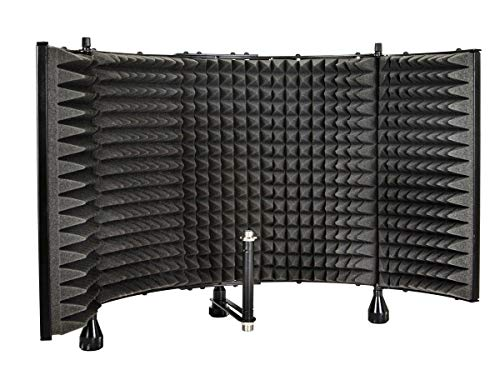 (Monoprice Microphone Isolation Shield - Black - Foldable With 3/8
