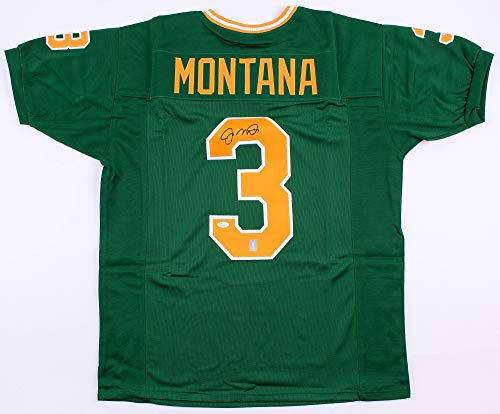 Joe Montana Autographed Green Notre Dame Jersey - Hand Signed By Joe Montana and Certified Authentic by JSA - Includes Certificate of (Authentic Notre Dame Green Jersey)