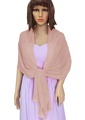 Malishow Women's Chiffon Shawl Bridal Sheer Wrap Scarf Evening Dress Stole Scarves Blush Size L - Chiffon Sheer Blush