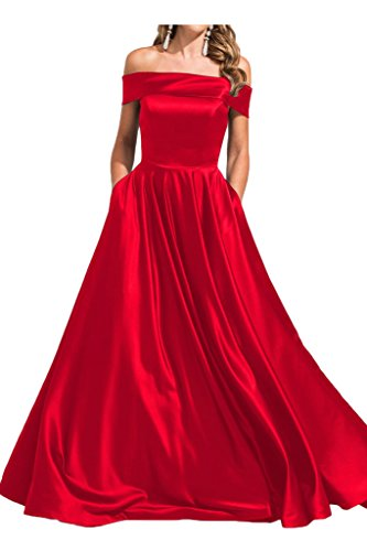 Lang Abendkleid Promkleid Satin U Ivydressing Partykleid Festkleid A Linie Modern Ausschnitt Rot Damen TPzwqB0