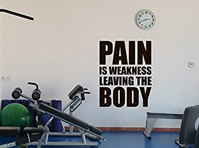 Gym Motivation Quote Wall Decal Fitness Vinyl Sticker Pain Is Weakness Leaving The Body Sports Gym Wall Art Design Inspirational Word Quote Decor Removable Wall Mural 18fit