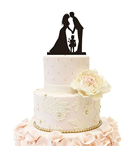 Wedding Anniverary Cake Topper couple with a Girl (One Girl (Black))