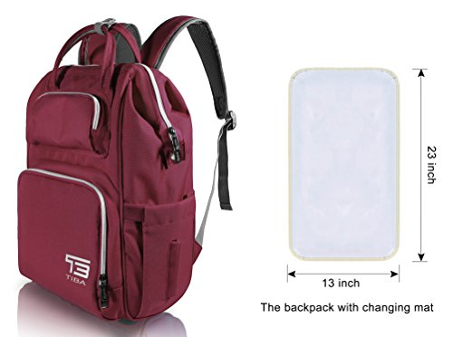 (TB TIBAG Lightweight Mother Diaper Backpacks Bags for Mom and Dad with Changing Mat, Baby Bags,Diaper Baby Bag for Mom (35L, Dark RED))