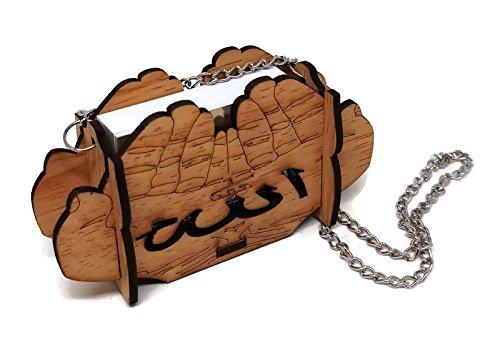 Mini Al Quran in Small Box w/Hanging Chain Muslim Car Mirror Hanging Decoration Arabic Calligraphy Engraved Islam Car Ornament (Beige - Hand Shape) by Al-Ameen Muslim Gift (Image #1)