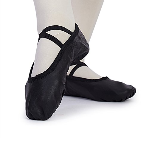 MSMAX Kid Girl's Classic Leather Practise Ballet Dancing Yoga Shoes,Black,10 M US