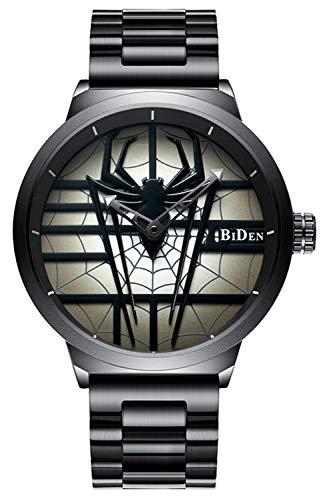 Watch Fashion Mens Spiderman Watch Full Steel Waterproof Cool Black Unique Quartz Wrist Watch Men Sports (Black) -