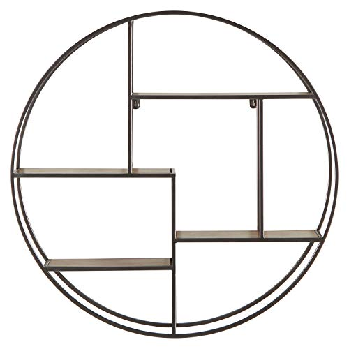 Rivet Contemporary Round Iron Shelf Unit with 4 Multilevel Shelves, 29.72