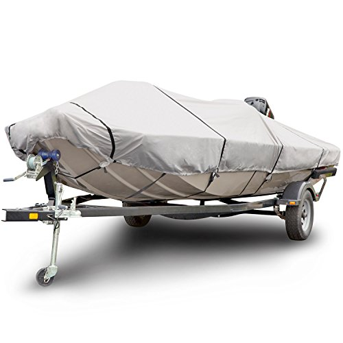 (Budge 1200 Denier Boat Cover fits Low Profile Flat Front/Skiff / Deck Boats B-1211-X5 (17' - 19' Long, Gray))