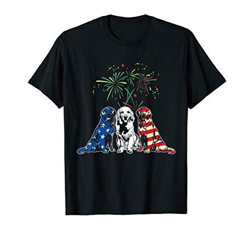 Red White Blue Golden Retriever USA Flag 4th Of July Shirt