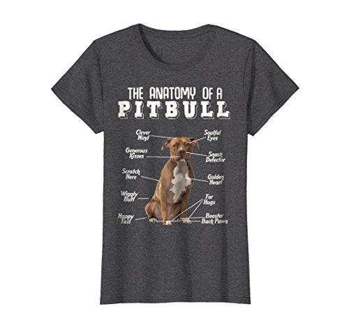 Bull Womens T-shirt - Womens Anatomy Of A Pit Bull T-Shirt Medium Dark Heather