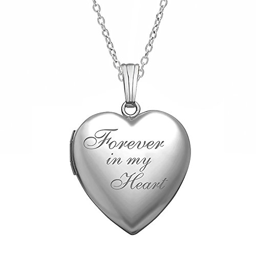 PicturesOnGold.com Forever in My Heart Locket Necklace Pendant in Sterling Silver - 3/4 inch X 3/4 inch - Includes 18 inch Cable Chain (Woman Forever Heart Locket)