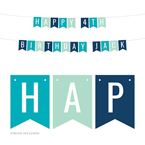 Andaz Press Personalized Hanging Pennant Banner Party Decorations, Aqua, Seafoam Mint Green, Navy Blue, Happy 4th Birthday Jack, 1-Pack, Approx. 5-Feet, Custom Name and Number
