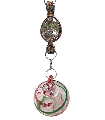 Blown Glass Hummingbird Feeder with Hummingbird Charm and Gemstones on a Handcrafted Chain, Butterfly Garden