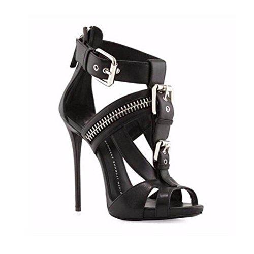 YWNC Femmes Talons Stiletto Sandales À Talons Chaussures De Mode Un Mot Boucle Fête Banquet Grande Taille Chaussures Bout Pointu Blanc Noir black qht53W