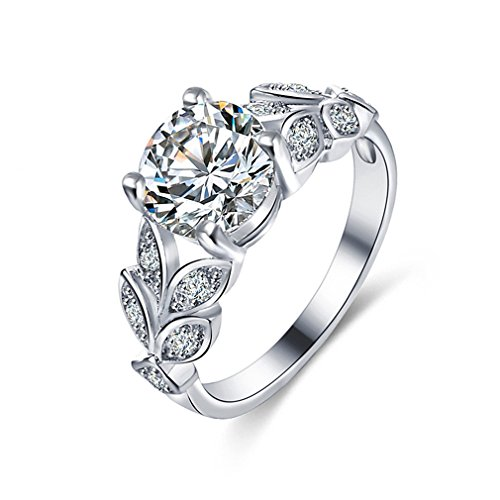 ULAKY Womens Simulated Birthstone Ring Engagement Ring Vintage Unique Jewelry,White gold (white diamond)
