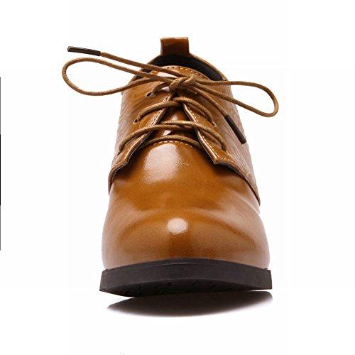 Carol Chaussures Femmes Chic À Lacets Bout Pointu Casual Chunky Mi-talon Chaussures Oxfords Jaune Foncé
