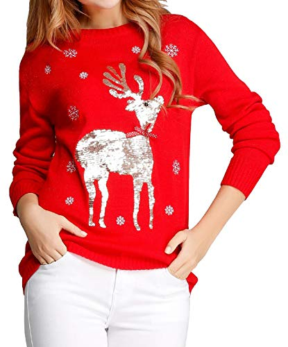 v28 Ugly Christmas Sweater, Women Girls Cute Shining Reindeer Pullover Sweater (2X-Large, Red (Light-Gold Deer)) for $<!--$19.99-->