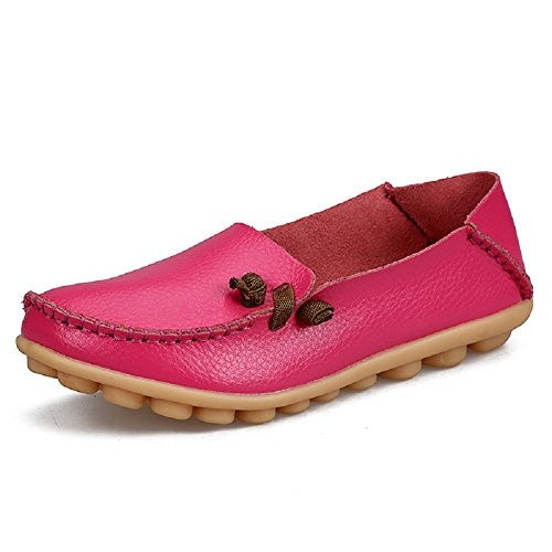 Labato Women's Casual Leather Loafers Slip-On Slippers Driving Flat Shoes Magenta