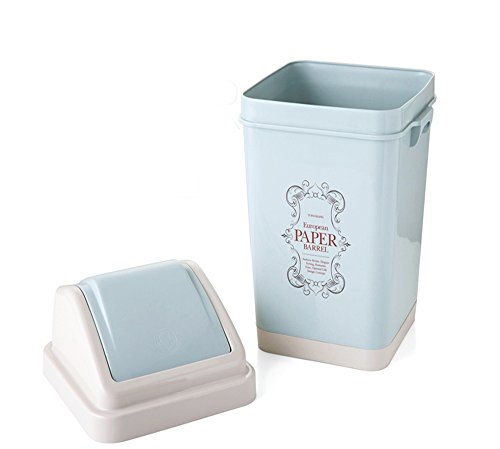 Nicesh 3 Gallon Trash Can, 12 L, Plastic Lid (Blue)