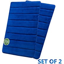 "FindNew Non-Slip Soft Microfiber Memory Foam Bath Mat ,Toilet Bath rug ,with Anti-Skid Bottom Washable Quickly Drying Bathroom mats,Set of 2 (16""X24"", Royal Blue)"