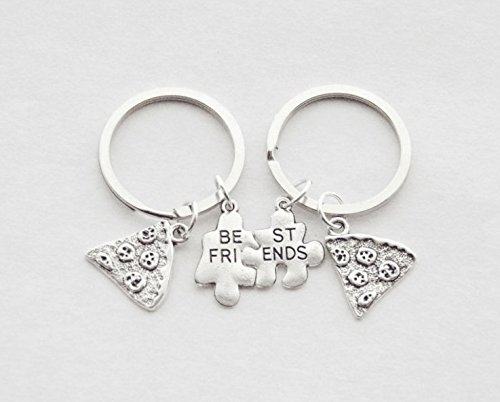(Best friends Pizza keychains 2 Pizza Slice Keychains Best Friend Token Friendship Jewelry Sorority Sister Gift Puzzle Piece Keychains)