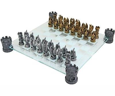 Kingdom Of The Dragon Fantasy Glass Chess Set