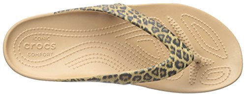 Crocs Womens Kadee Ii Stampa Leopardo Flip-flop Oro
