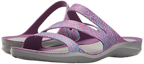 Ladies Crocs Swiftwater Amethyst Womens Lightweight Sandals Soft Graphic Grey Szz7wvqF