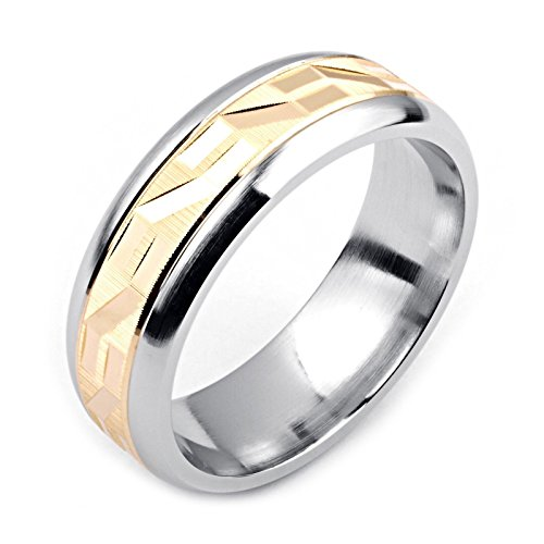 Alain Raphael Two-Tone Cobalt Fashion Ring 14K Yellow Gold 7 Millimeters Wide Wedding Band Size 4 to 14 by Alain Raphael