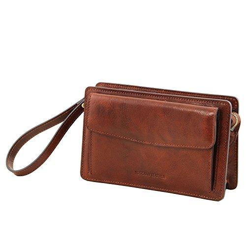 Tuscany Leather Denis - Elegante bolsillo de señor en piel - TL141445 (Negro) Marrón