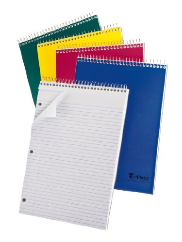 Ampad Single Wire Notebook, 8.5 Inches X 11.75 Inches, 1 Subject, Assorted Colors, College Ruled, 80 Sheets per Notebook, 1 Each (25-415)