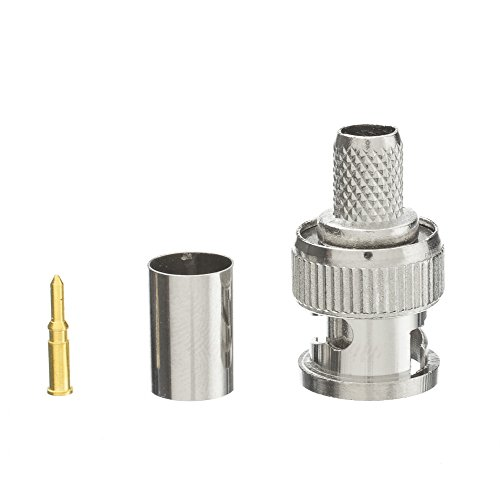 ACL BNC Male Crimp Connector for RG6 Cable (3 Piece Set), 10 (Bnc Plug Rg6 Cable)