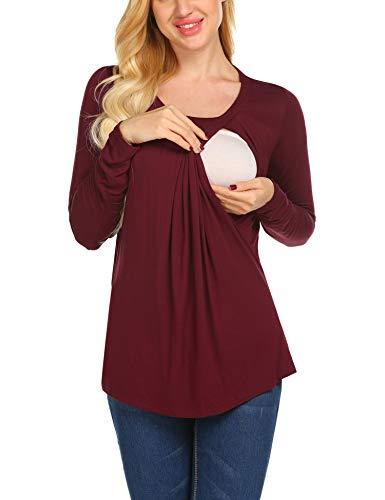 Maglietta B Manica Per Corta Unibelle xxl Maternità Donna Maglia Premaman Allattamento Maglieria Casual Shirt Top rosso S vmN8n0Ow