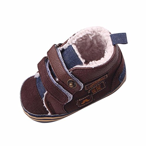 SYY 0-1 Jahre alt Neugeborenes Baby Canvas Sneaker Anti-Rutsch-weiche Sohle Kleinkind Schuhe Kaffee