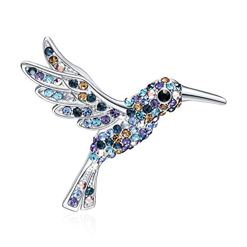 RAINBOW BOX Blue Hummingbird Brooch, Fashion Bird Rhinestone Crystal from Swarovski Jewelry Women's Brooches & Pins