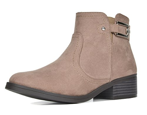 TOETOS Women's Alexis Low Stacked Heel Ankle Riding Booties Taupe-03