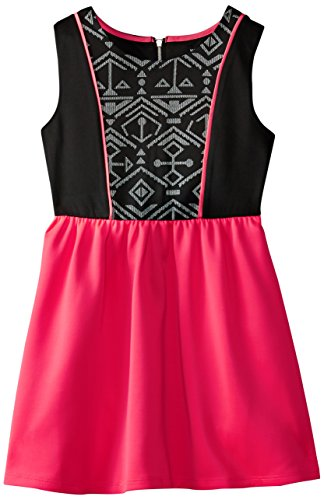 My Michelle Big Girls' Knit Dress with Solid Skirt and Pr...
