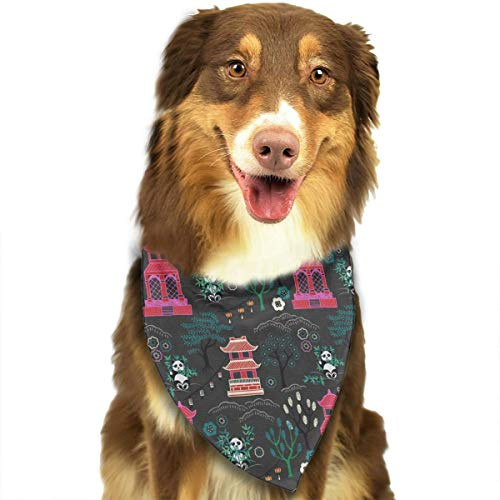 FortniteCOM Dog Bandana Panda and The Temple Triangle Bibs Scarf Printing Kerchief Set Accessories Dogs Cats -