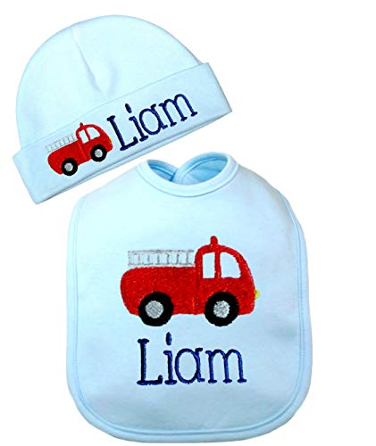 Personalized Baby Boy Firetruck Bib with Matching Cotton Beanie Hat- Personalized with Your Custom Name-Baby Gift Set (Blue ()