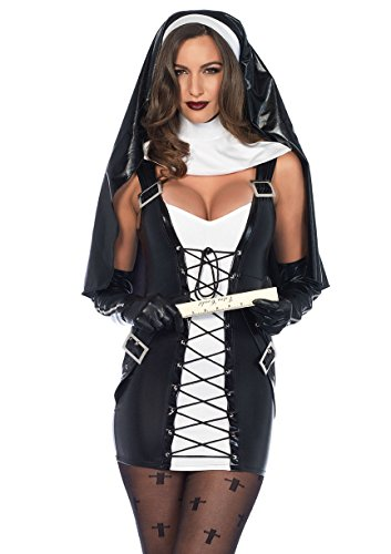 Leg Avenue Women's 3PC.Naughty Nun, Black/White, XS