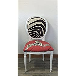 "Louis XV French Style White Round Back Side Chair | Scalamandre ""Zebras"" Masai Red and Zebra Print Cowhide Accent Chair"