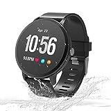 Unique-Fit Smart Watch Fitness Tracker Smart Watch IP67 Monitor de Actividad, Monitor de Pasos, Reloj Deportivo Inteligente para niños, Mujeres y Hombres (Morado) (Negro2)