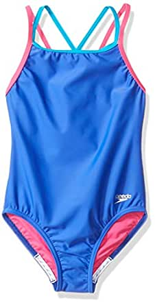 Amazon.com : Speedo Girls Crossback One Piece Swimsuit