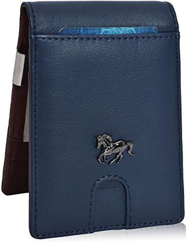 Estalon Metal Money Clip Wallets - Bifold Wallets RFID Protection Slim Design Front Pocket Leather ()