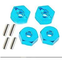 BFHCVDF 4pcs écrous hexagonaux de Roue d'alliage d'aluminium avec des goupilles d'entraînement adaptateurs de moyeu pour la Voiture 4WD RC Bleu