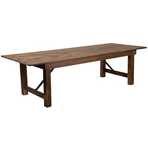 (Flash Furniture HERCULES Series 9' x 40'' Antique Rustic Solid Pine Folding Farm Table)