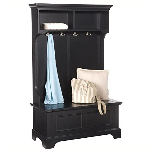 Home Styles 5531-49 Bedford Hall Tree and Storage Bench, Black Finish (Black Entry Bench)