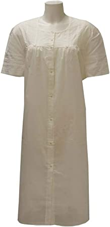 Camisa de noche de batista de manga corta crema 56: Amazon.es ...