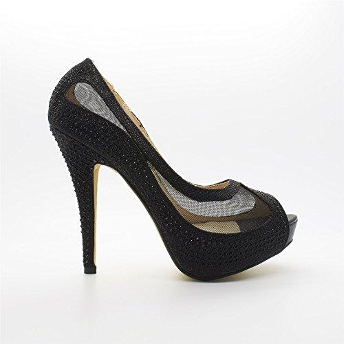 Peep nero Footwear donna Nero Toe London xq01CpwnB